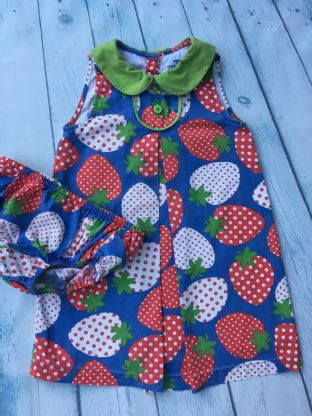 Mini Boden blue dress with strawberry design and green peter pan collar and matching pants age 2-3